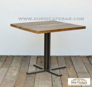 Meja Cafe Kayu Jati Minimalis Iron