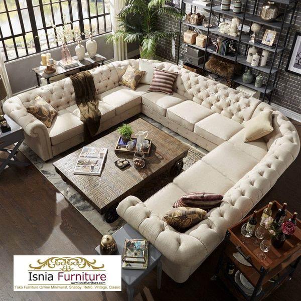 kursi sofa mewah bentuk U