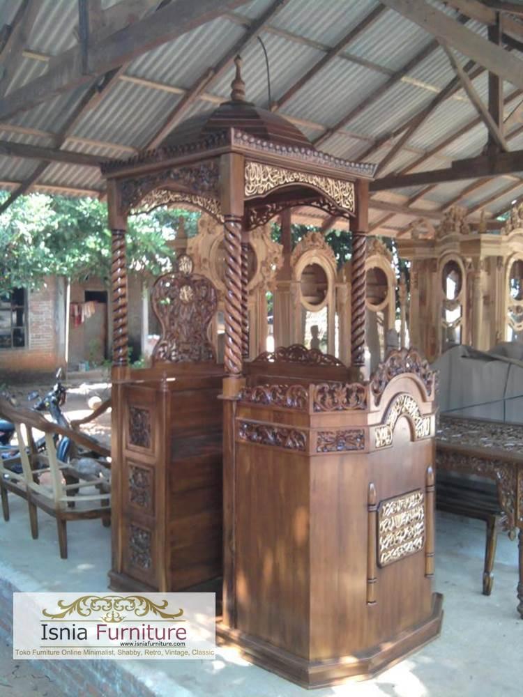 Mimbar-Masjid-Kanopi-Ulir- Mimbar Masjid Jakarta Kubah Jati Terbaru