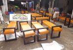 Kursi Taman Kayu Nangka Minimalis Kaki Besi