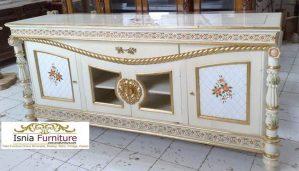 Meja Bufet Tv Lukisan Bunga Mawar Mewah Minimalis