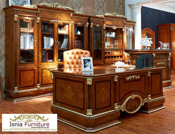 Meja-Kantor-Tangerang-Klasik-Kayu-Jati-Mewah Meja Kantor Tangerang Klasik Kayu Jati Mewah