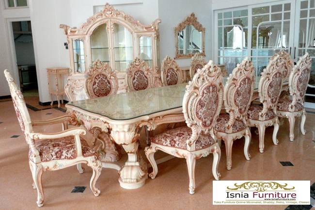 Set-Meja-Kursi-Makan-Mewah-Minerva-Klasik-Ukiran Set Meja Kursi Makan Mewah Minerva Klasik Ukiran