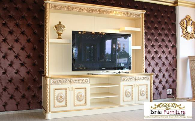 jual-meja-tv-klasik-murah Meja Tv Set Lemari Tempel Dinding Klasik