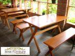 Set Meja Kursi Cafe Panjang Full Kayu Jati