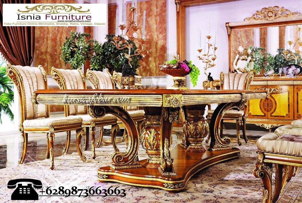 set-kursi-makan-mewah-ukir-kayu-dengan-meja-makan-tebal Set Kursi Makan Mewah Ukir Kayu Dengan Meja Tebal