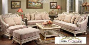 Kursi Tamu Sofa Mewah Ukir Klasik Warna Putih