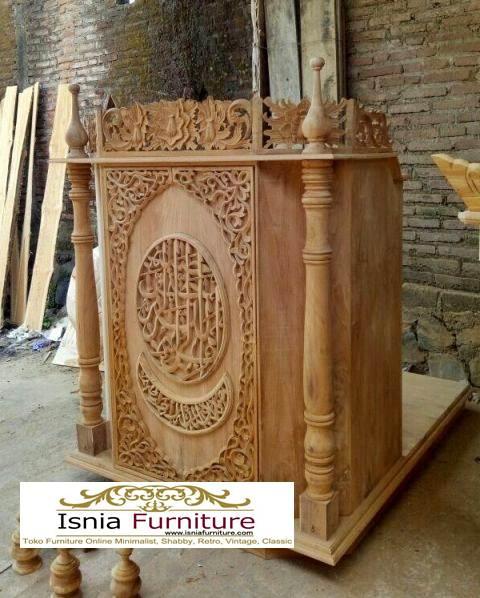 Mimbar-podium-klasikgrafi Jual Mimbar Masjid Ukiran Mewah Kaligrafi Kayu Jati