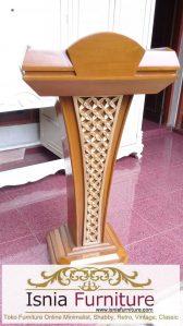 Mimbar Masjid Malang Model Podium Minimalis Jati