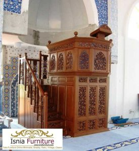 Mimbar Masjid Semarang Ukiran Jati Model Podium Mewah