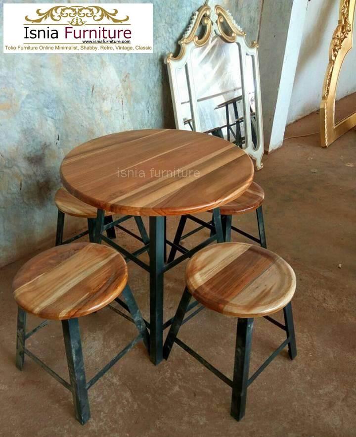 set-kursi-meja-cafe-bundar-2 Model Kursi Cafe Bulat Unik Kayu Jati Kaki Besi Terlaris