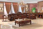 Jual Set Kursi Tamu Sofa Mewah Ukir Jati Jok Kulit