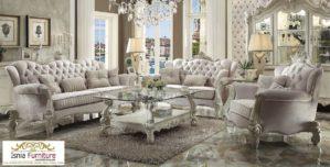 Jual Set Kursi Sofa Mewah Putih Ruang Tamu Desain Klasik