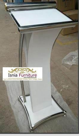 podium-minimalis-bahan-jati-kombinasi-stainless Mimbar Podium Minimalis Stainless Modern Dan Kayu Jati