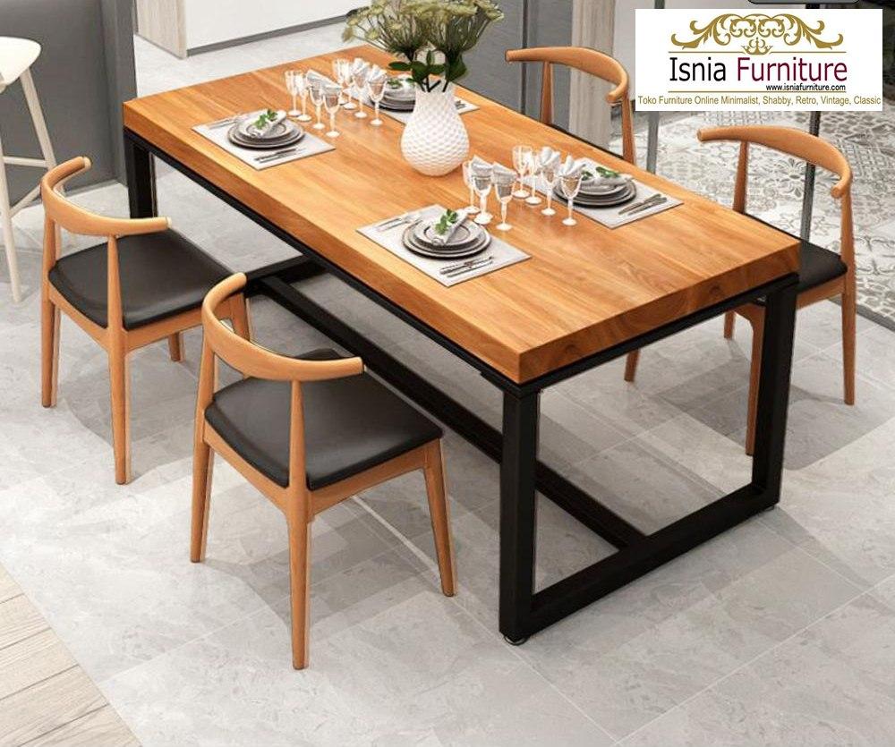 set-meja-makan-jati-minimalis-kaki-besi Set Meja Makan Jati Minimalis Lamongan Kaki Besi