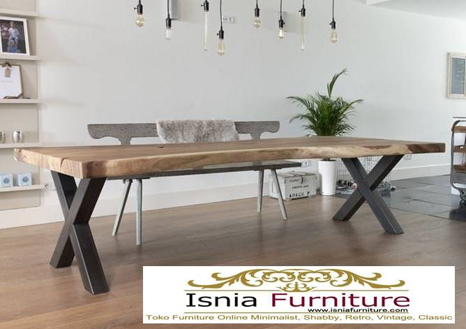 meja-trembesi-kaki-besi-realpict-asli Meja Trembesi Kaki Besi Solid Tebal Murah Untuk Makan Model Minimalis