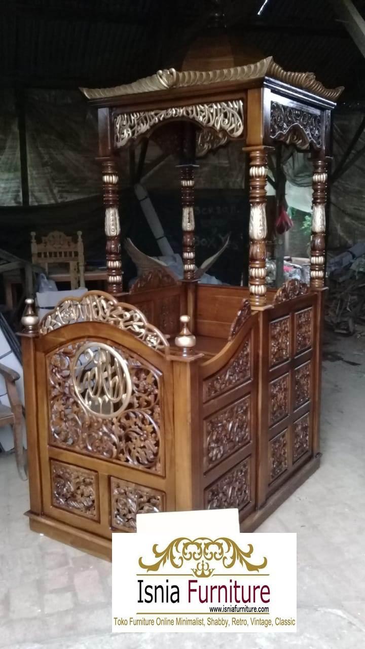 mimbar-masjid-jepara Jual Mimbar Masjid Jepara Ukir Jati Model Atap Kubah