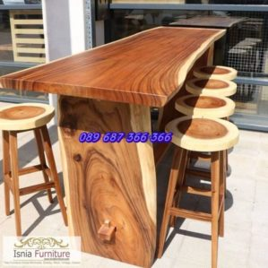 Set Meja Cafe Bar Kayu Trembesi Solid Desain Unik