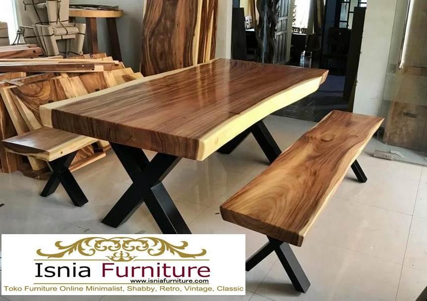 meja-makan-bahan-kayu-trembesi-desain-kaki-silang Meja Trembesi Kaki Silang Desain Baru Terlaris