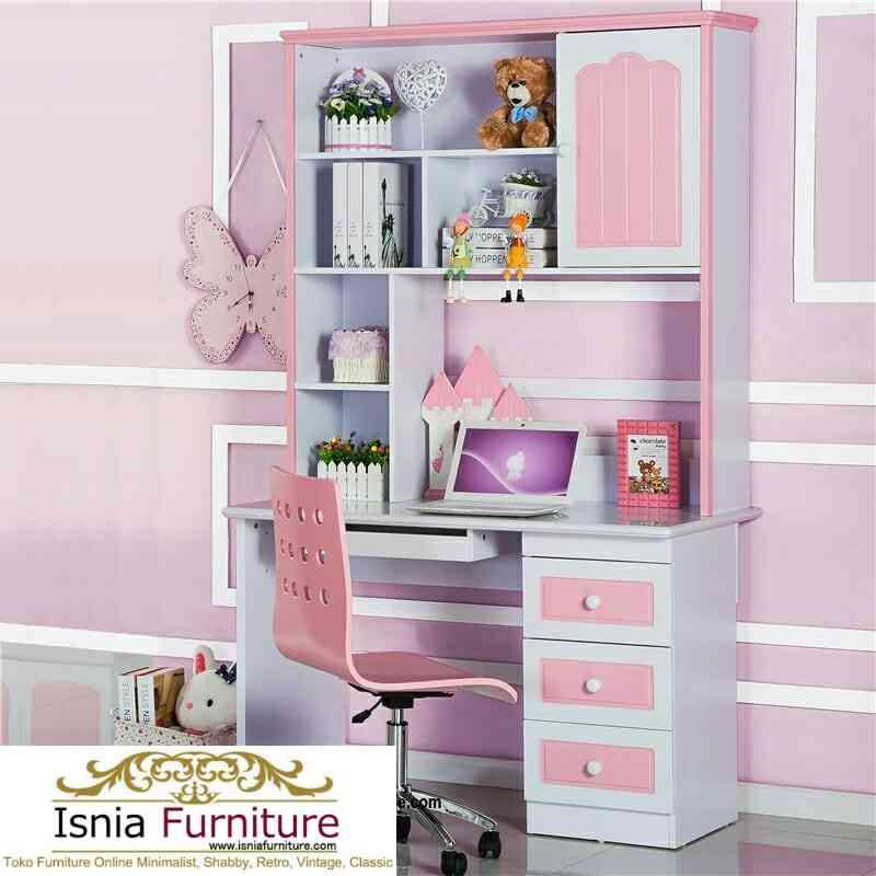 meja-belajar-pink-putih-modern Meja Belajar Anak Pink Putih Bandung