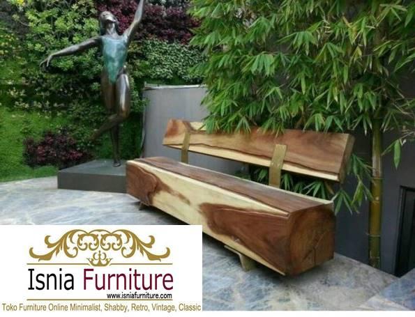 bangku-kayu-model-glondongan Jual Bangku Kayu Panjang Solid
