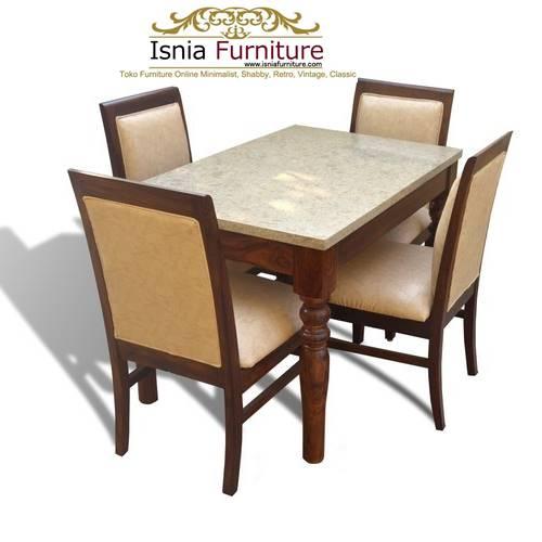meja makan marmer 4 kursi