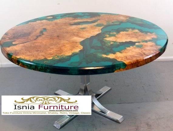 meja-resin-bulat-desain-kaki-besi-minimalis-unik Jual Meja Resin Bulat Kayu Solid Terpopuler Murah