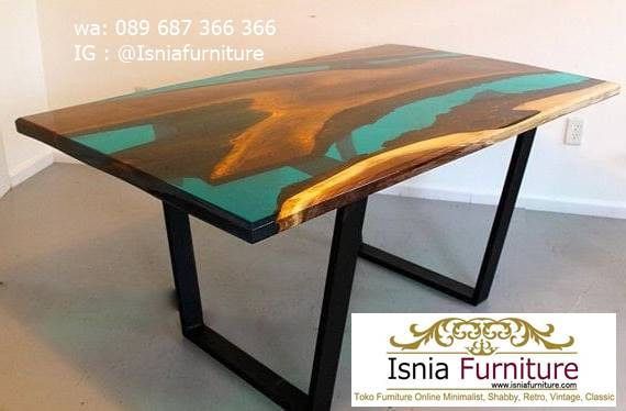 meja-resin-epoxy-desain-kaki-besi-modern Jual Meja Resin Epoxy Kayu Solid Unik Modern Terlaris