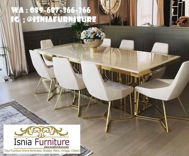 toko-meja-makan-marmer-model-kaki-stainless-gold Toko Meja Makan Marmer Langsung Dari Pabrik