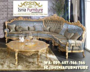 Sofa L Mewah Luxury Klasik Desain Ukiran Terbaru