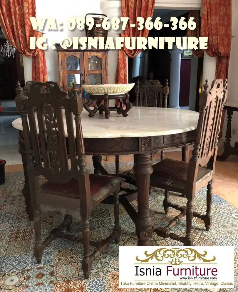 meja-makan-marmer-antik-bentuk-bulat-terbaru Meja Makan Marmer Antik Desain Modern Termurah